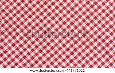 Red and white tablecloth background , plaid fabric texture - stock photo