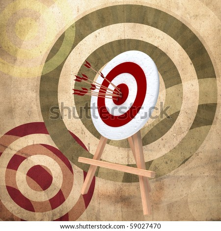 Red and white target over retro background - stock photo