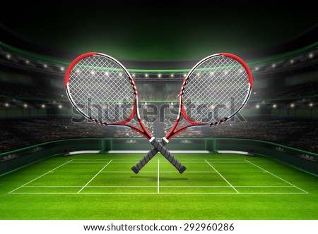 whole tennis court perspective player tennis stock