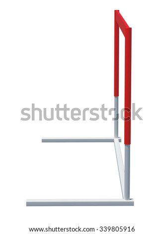 Red and white treadmill barrier on isolated white background