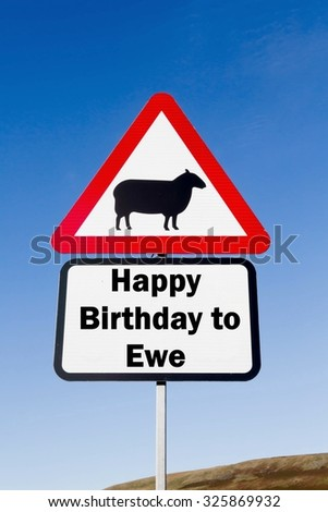 Red and white triangular road sign with an Happy Birthday to Ewe play on words concept against a partly cloudy sky background