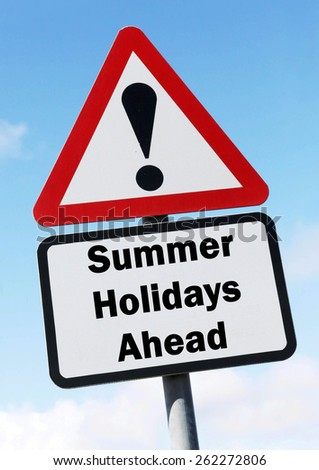 Red and white triangular warning road sign informing that the Summer Holidays are Just Ahead concept against a partly cloudy sky background - stock photo