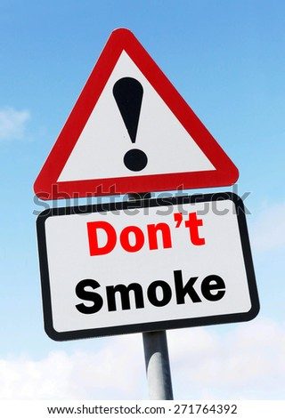 Red and White triangular warning road sign with a Don't Smoke concept against a partly cloudy sky background.