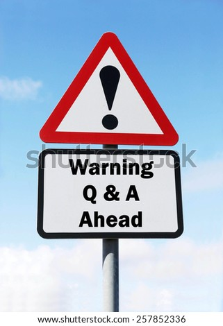 Red and white triangular warning road sign with a warning of Questions and Answers ahead concept against a partly cloudy sky background - stock photo