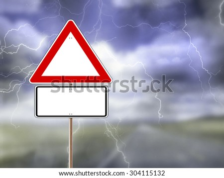 Red and white triangular worning road signt against a stormy sky background. Space for text