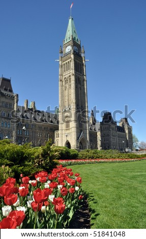 Red and white tulips in bloom under the Peace Tower of Ottawa's Parliament Buildings, Spring 2010. - stock photo