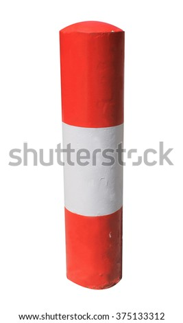 Red and white warning bollard isolated on a white background. - stock photo