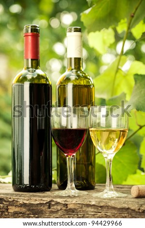 Red and white wine bottles and two glasses against vineyard in spring - stock photo