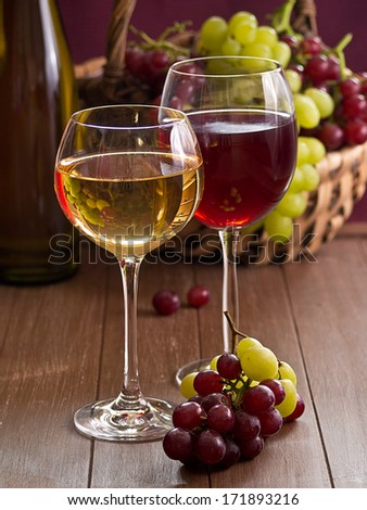 Red and white wine in the glass