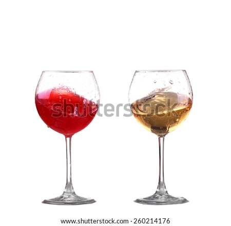 Red and white wine splash diagonal - stock photo