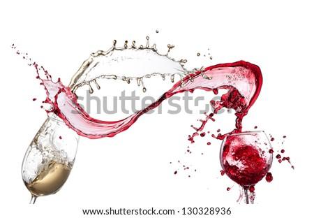 Red and white wine splash isolated - stock photo