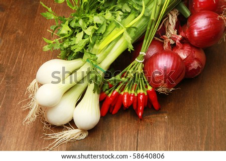 Red and white young onions with red pepper