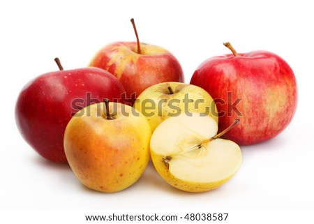 Red and yellow apples on a white background - stock photo