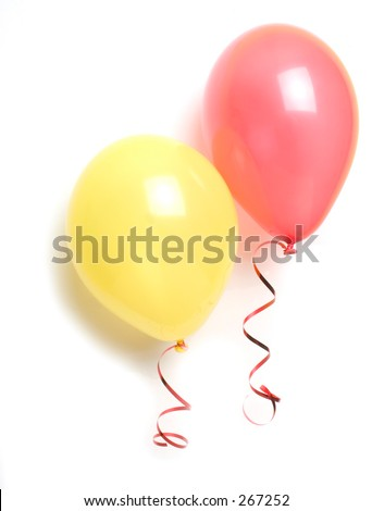 red and yellow balloons and red string, with shadow