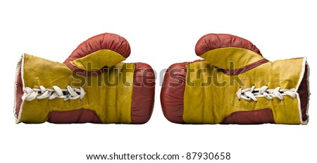 Red and yellow boxe gloves - stock photo
