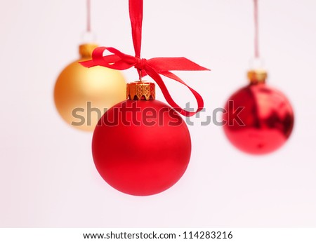 Red and yellow Christmas decoration balls - stock photo