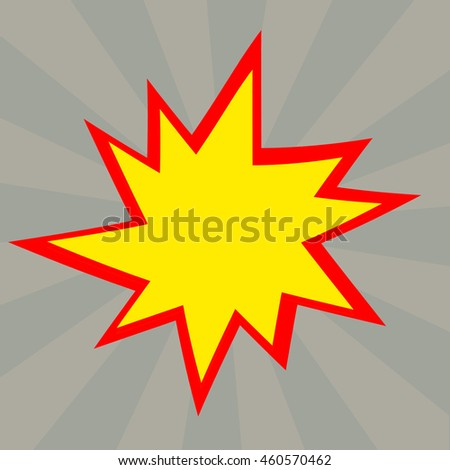 Red and yellow comic cartoon speech bubble illustration. Grey background - stock photo
