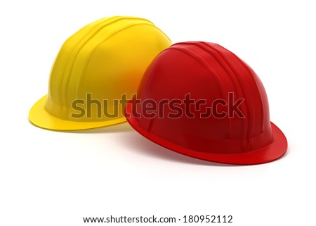red and yellow construction helmet - construction protection - 3d rendering - isolated on white background - stock photo