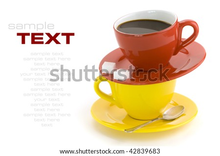 Red and yellow cups, coffee, sugar, spoon on a white background. With sample text