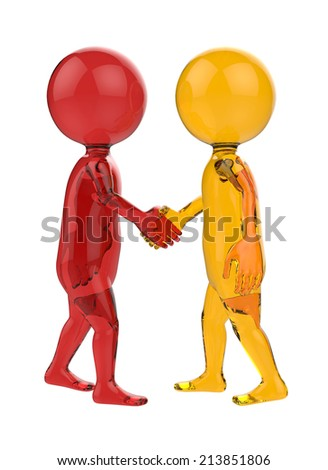 red and yellow glass 3d small person handshake - stock photo
