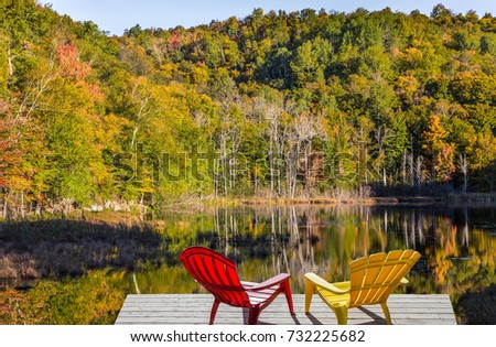 Wooden Dock Chairs On Calm Fall Stock Photo 32823508