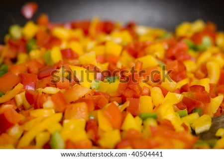 red and yellow paprika cut in squares
