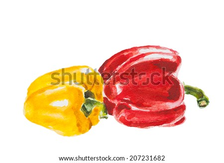 red and yellow pepper, watercolor illustration