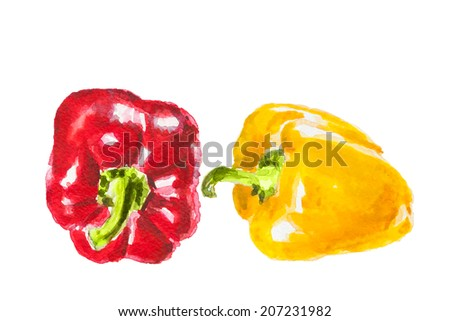 red and yellow pepper, watercolor illustration - stock photo