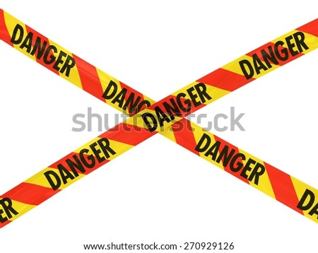 Red and Yellow Striped Danger Barrier Tape Cross - stock photo