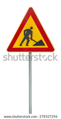 Red and yellow under construction road sign on rod - stock photo