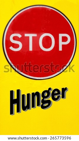 Red and yellow warning sign with a Hunger concept - stock photo