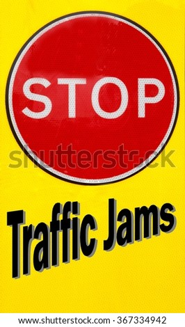 Red and yellow warning sign with a Stop Traffic Jams concept - stock photo