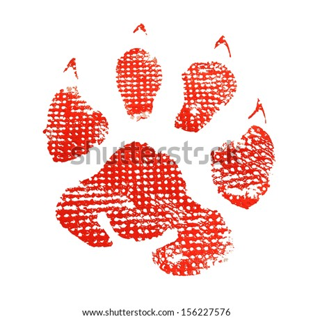 Red animal footprint isolated on white background - stock photo