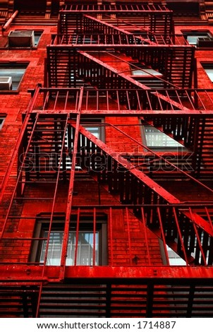 Red Apartment building - stock photo
