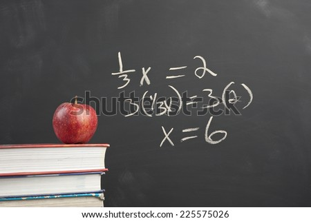 Red apple and algebra equation. - stock photo