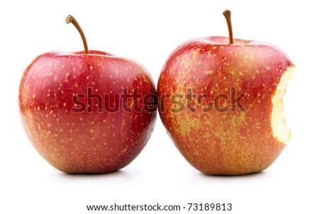 Red Apple and Bitten Red Apple Isolated on White - stock photo