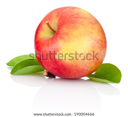 Red apple and green leaves isolated on a white background - stock photo