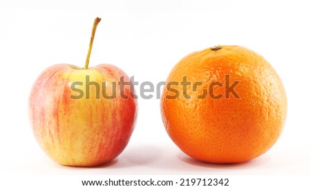 red apple and orange - stock photo