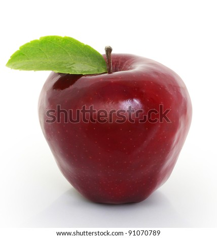 Red apple and white background - stock photo