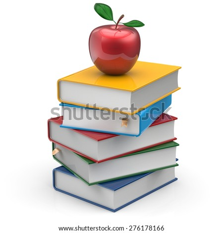 Red apple books stack colorful textbooks education studying reading learning school college knowledge literature idea icon concept. 3d render isolated on white - stock photo