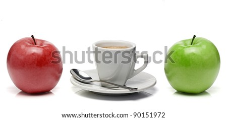 Red apple, coffe cup and green apple - stock photo