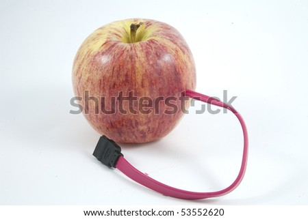Red apple connected via sata cable