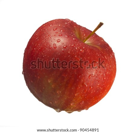 Red apple covered with water drops on white background. - stock photo