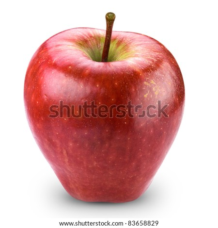 Red apple fruit + Clipping Path - stock photo