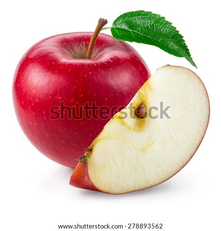 Red apple. Fruit with a cut isolated on white. - stock photo