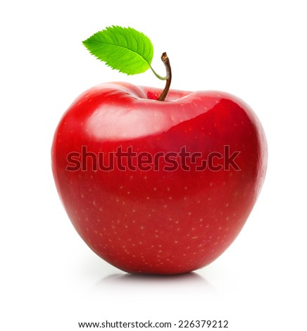 Red apple fruit with leaf isolated on white background - stock photo
