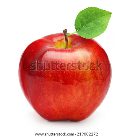Red apple fruit with leaf on white background. - stock photo