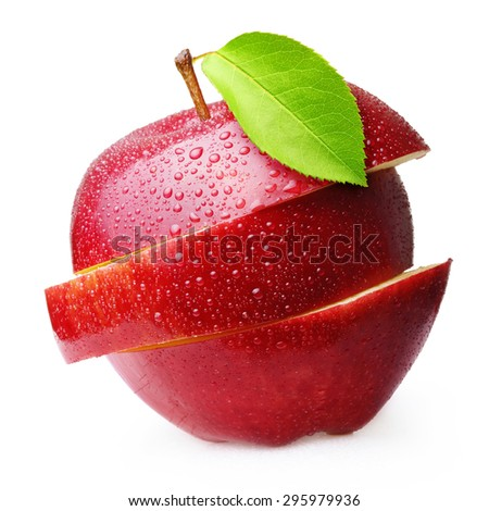 Red apple fruit with water drops isolated on white background - stock photo