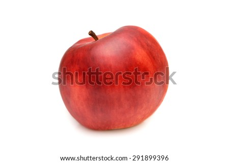 Red apple isolated, natural texture