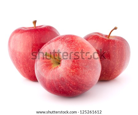 Red apple isolated on white background cutout - stock photo